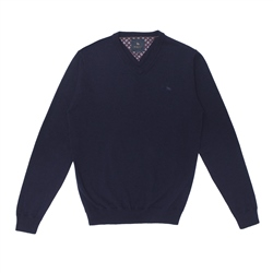 Navy Lunnaigh Lambswool V-Neck Jumper