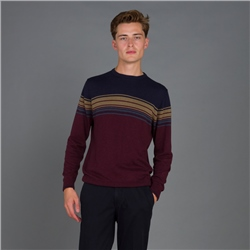 Magee 1866 Maroon Termon Striped Cotton Crew Neck Jumper