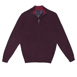 Magee 1866 Maroon Carn Cotton 1/4 Zip Jumper