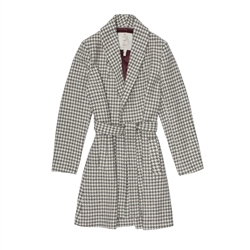 Magee 1866 Pewter & Vanilla Houndstooth Clooney Cardigan Coat