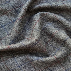 Magee 1866 Grey, Cranberry & Royal Blue Windowpane Check Donegal Tweed