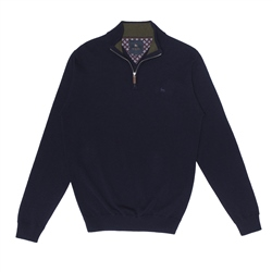 Magee 1866 Navy Lunnaigh Lambswool 1/4 Zip Jumper