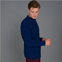 Dark Blue Brody Handknit Fisherman Rib Sweater