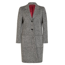 Black & White Herringbone Emma Donegal Tweed Coat