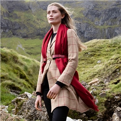 Camel & Red Checked Grace Donegal Tweed Coat