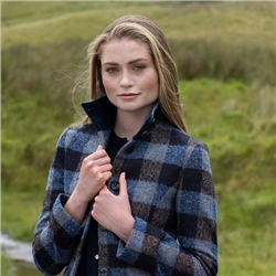 Linsford Donegal Tweed Coat in Blue Patchwork