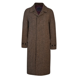 Brown/Navy Donegal Tweed Corrib Quilted Raglan Coat