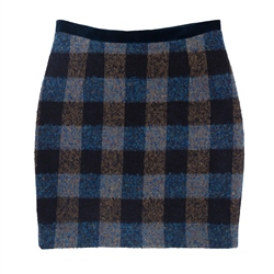 Magee 1866 Carey Donegal Tweed Skirt in Blue Patchwork