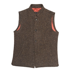 Magee 1866 Cavan Donegal Tweed Gilet In Brown Herringbone