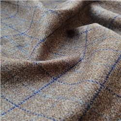 Magee 1866 Rockall - Brown and Blue Windowpane Check Donegal Tweed