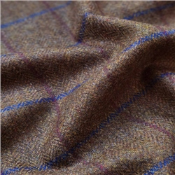 Magee 1866 Rockall - Brown Windowpane Check Donegal Tweed