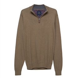 Magee 1866 Carn Cotton ¼ Zip Jumper in Taupe