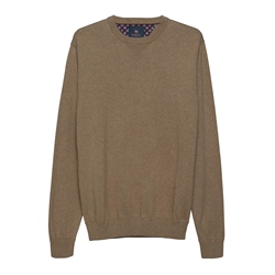 Magee 1866 Carn Cotton Crew Neck Jumper in Taupe