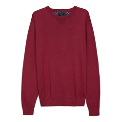 Magee 1866 Carn Cotton Crew Neck Jumper in Cardinal Red