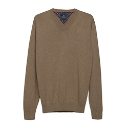 Magee 1866 Carn Cotton V-Neck Jumper in Taupe