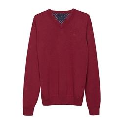 Magee 1866 Carn Cotton V-Neck Jumper in Cardinal Red