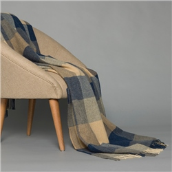 Magee 1866 Blue and Grey Patchwork Throw