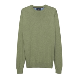 Magee 1866 Carn Cotton Crew Neck Jumper in Moss Green