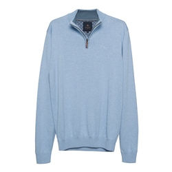 Magee 1866 Carn Cotton 1/4 Zip Jumper in Summer Blue