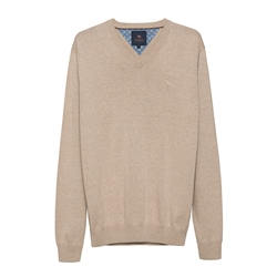 Magee 1866 Carn Cotton V-Neck Jumper in Oat