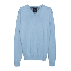 Magee 1866 Carn Cotton V-Neck Jumper in Summer Blue