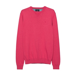 Magee 1866 Carn Cotton Crew Neck Jumper in Raspberry