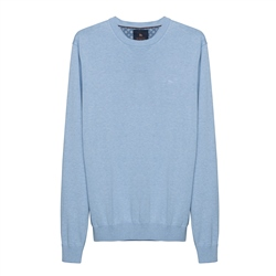 Magee 1866 Carn Cotton Crew Neck Jumper in Summer Blue