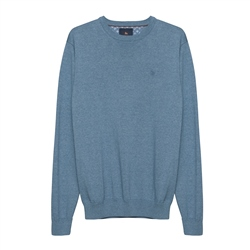Magee 1866 Carn Cotton Crew Neck Jumper in Denim Blue