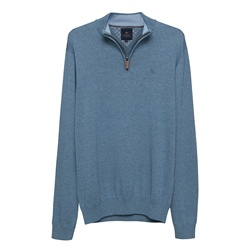 Magee 1866 Carn Cotton ¼ Zip Jumper in Denim Blue