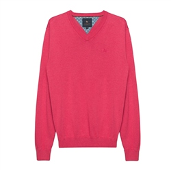 Magee 1866 Carn Cotton V-Neck Jumper in Raspberry
