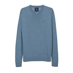 Magee 1866 Carn Cotton V-Neck Jumper in Denim Blue