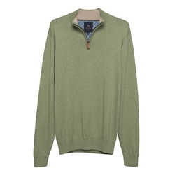 Magee 1866 Carn Cotton ¼ Zip Jumper in Moss Green