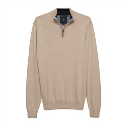 Magee 1866 Carn Cotton 1/4 Zip Jumper in Oat