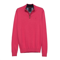 Magee 1866 Carn Cotton 1/4 Zip Jumper in Raspberry