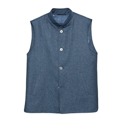 Magee 1866 Cavan Silk Blend Gilet in Navy Herringbone