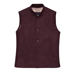 Magee 1866 Cavan Handwoven Donegal Tweed Gilet in Maroon
