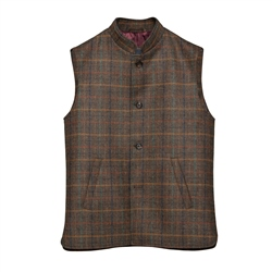 Magee 1866 Cavan Donegal Tweed Gilet in Brown Check