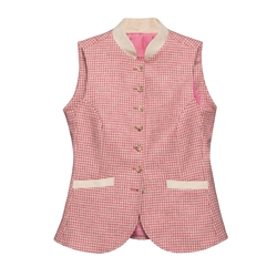 Magee 1866 Georgie Donegal Tweed Waistcoat in Pink Houndstooth