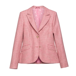 Lily Donegal Tweed Jacket in Pink Houndstooth