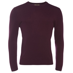Magee Clothing Burgundy Cashmere Crew Neck Jumper