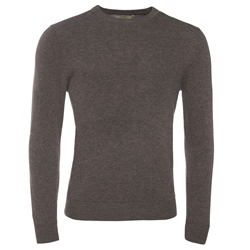 Magee Clothing Grey Brown Cashmere Crew Neck Jumper