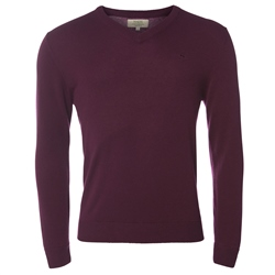 Magee Clothing Burgundy Cashmere V-Neck Jumper