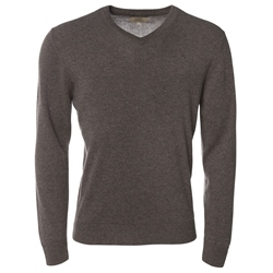 Magee Clothing Grey Brown Cashmere V-Neck Jumper