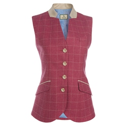 Magee 1866 Pink Check Wool Blend Waistcoat