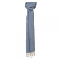 Magee Clothing Pale Blue and Cream Luxury Herringbone Scarf