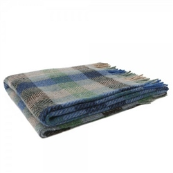 Magee Clothing Oak - Small Camel, Blue, Green and Grey Gingham Throw