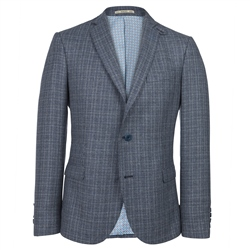 Magee Clothing Blue Micro Design Silk/Wool Unstructured Tailored Fit Blazer