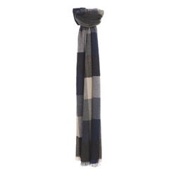 Magee Clothing Camel, Blue and Navy Check Scarf