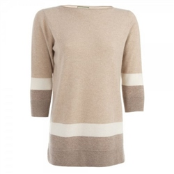 Magee 1866 Beige Colour Block Cashmere Jumper
