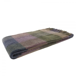 Magee 1866 Willow - Large Lovat Green, Purple & Camel Patchwork Throw
